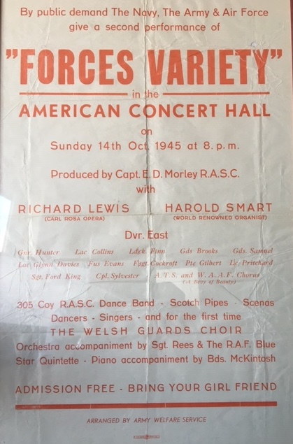 Forces Variety American Concert Hall 14th October 1945