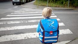 Girl on her Way to Scholl at a Zebra Crossing