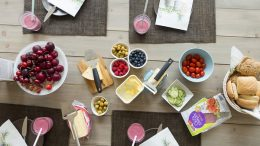 Healthy breakfast with fruits and berries.