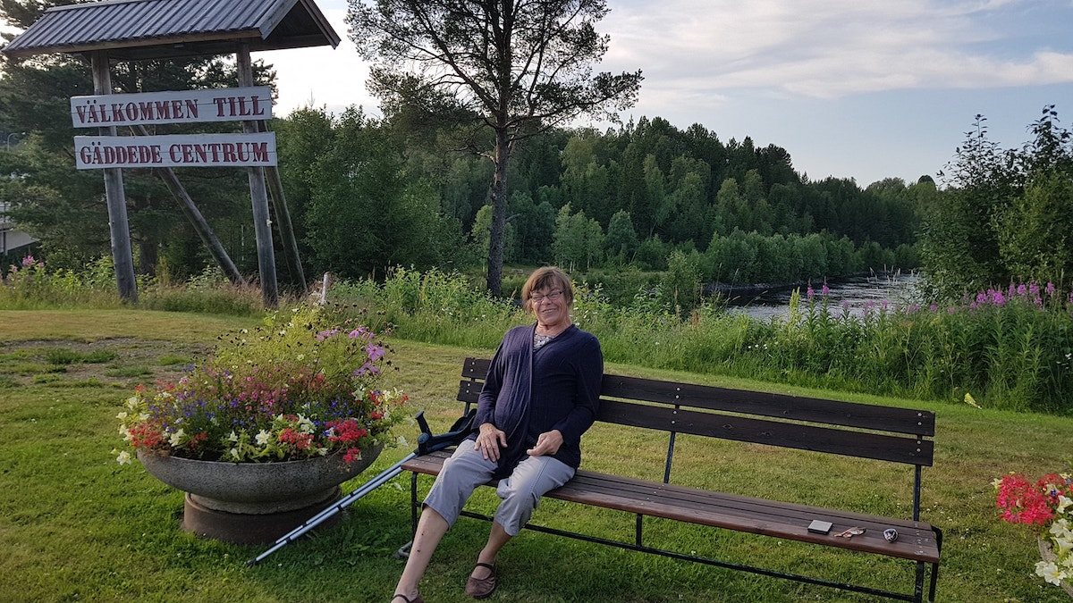 Marit on a bench