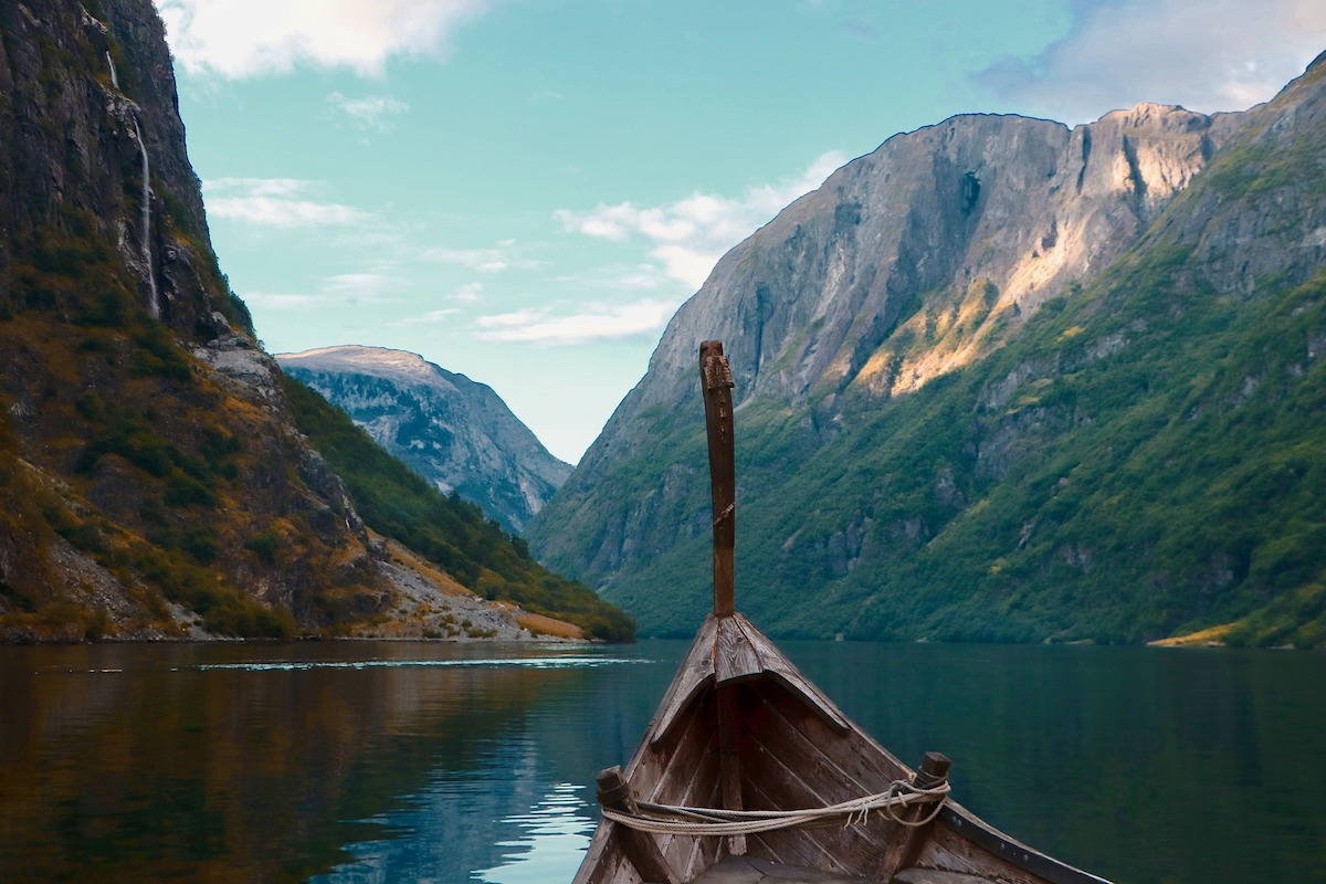 Viking boat in a fjord