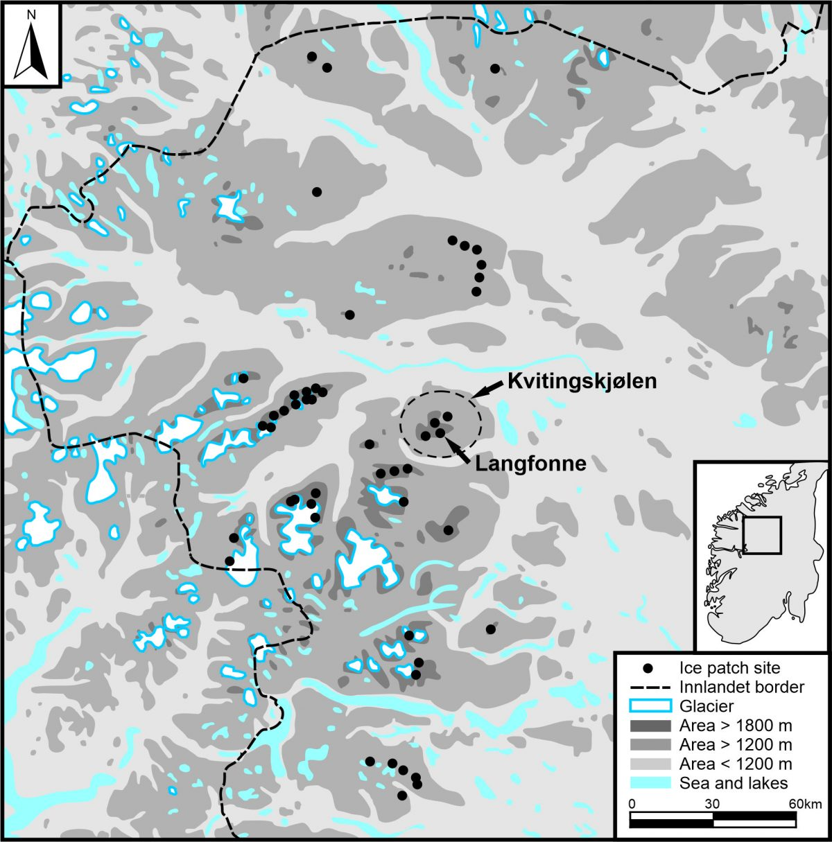 Map of ice sites in Innlandet County