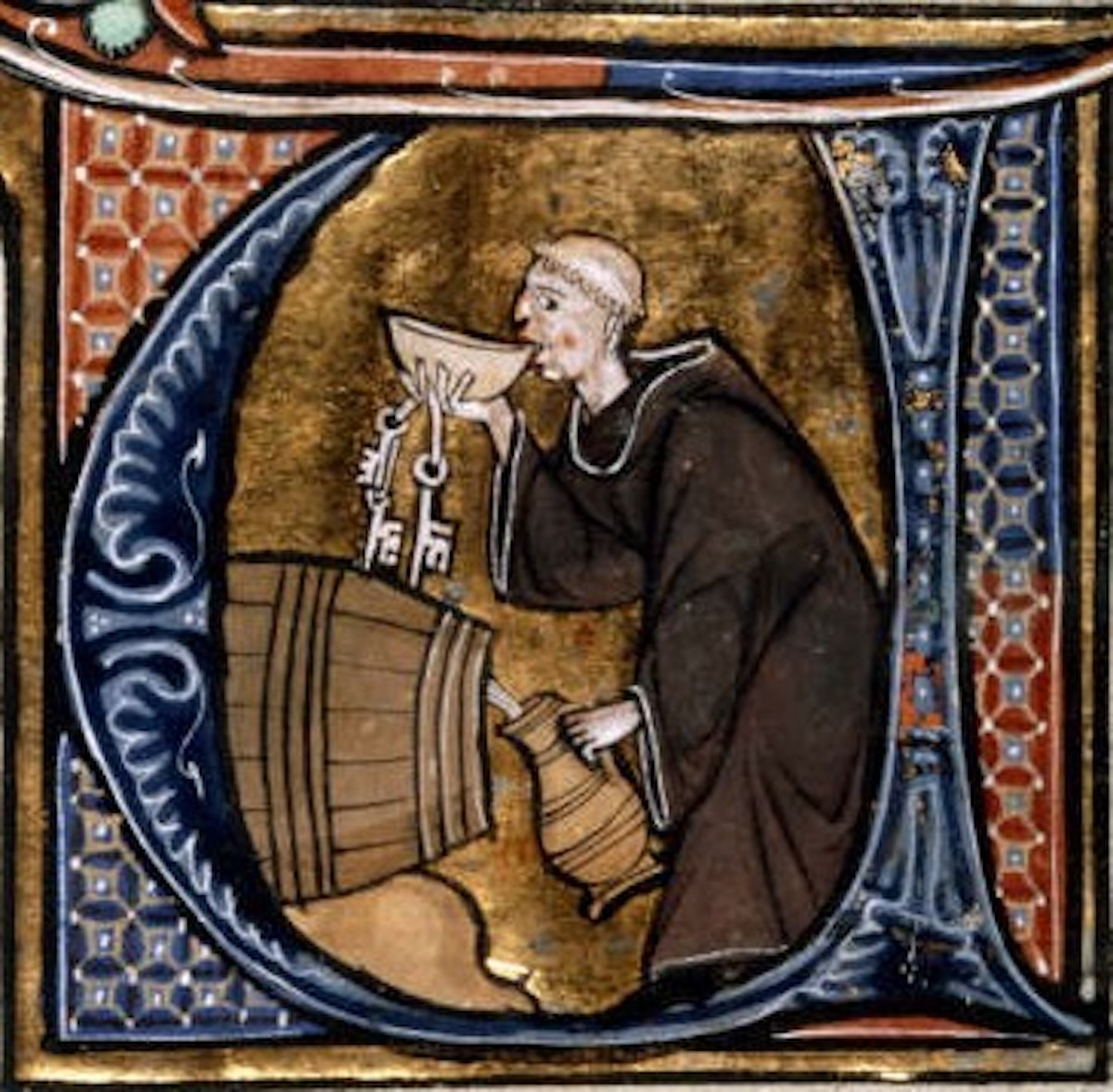 medieval monk tasting alcohol
