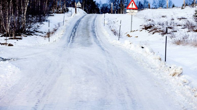 Icy slippery road