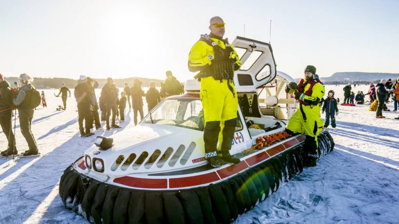 Rescue boat on ice